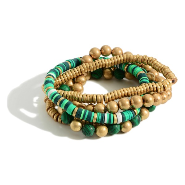 """Heishi Bead Bracelet Set of Five featuring Natural Stone Accents.   - Approximately 2.5"""" in Diameter"""