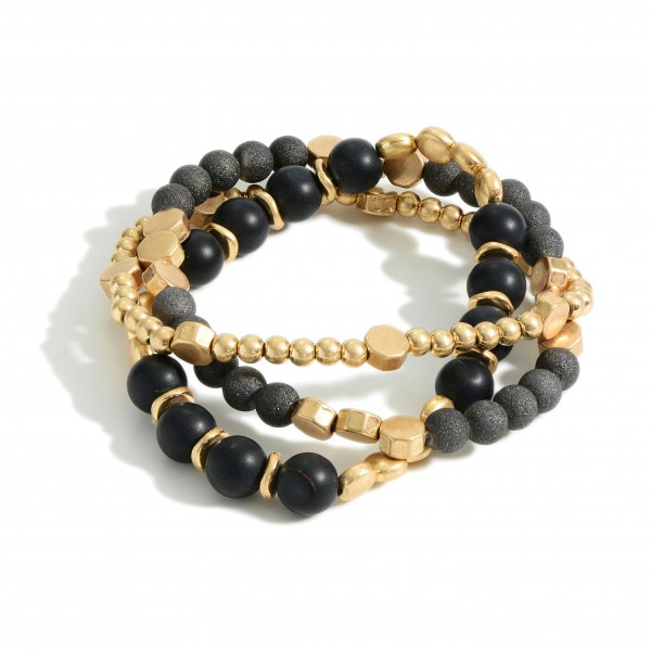"""Set of Three Beaded Bracelets Featuring Natural Stone Accents and Matte Metal Details.   - Approximately 3"""" in Diameter"""