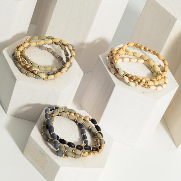 """Set of Four Beaded Bracelets Featuring Gold Accents.   - Approximately 3"""" in Diameter"""