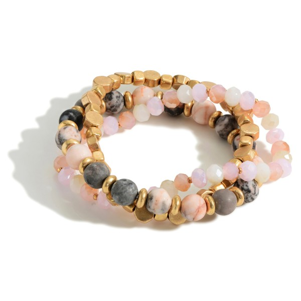 """Set of Three Beaded Bracelets Featuring Natural Stone Accents and Gold Details.   - Approximately 3"""" in Diameter"""