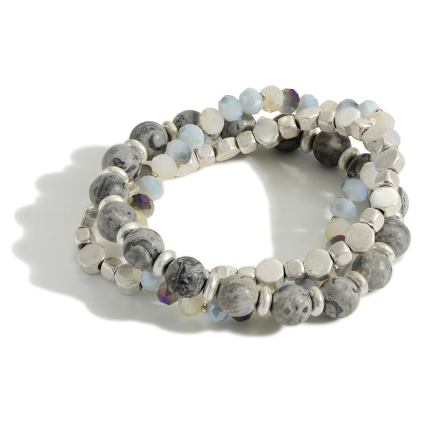 """Set of Three Beaded Bracelets Featuring Natural Stone Accents and Silver Details.   - Approximately 3"""" in Diameter"""