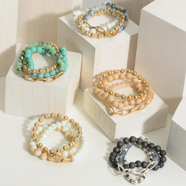 """Set of Three Beaded Bracelets Featuring Gold Details.   - Approximately 3"""" in Diameter"""