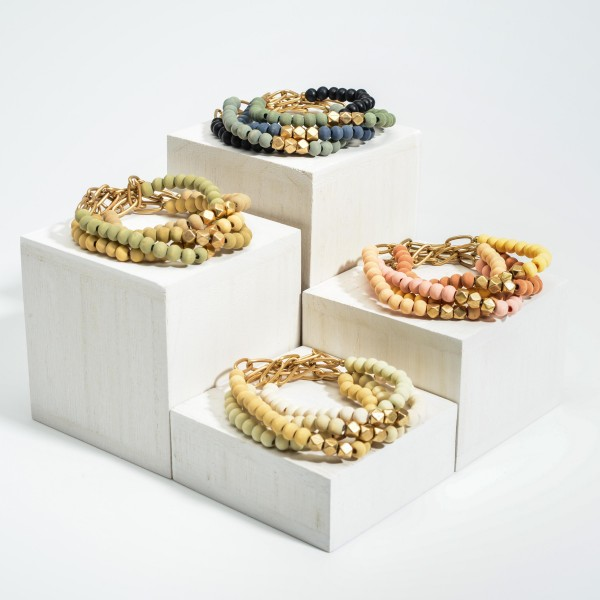 """Set of Four Beaded Bracelets Featuring Gold Chain Accents.  - Approximately 2.5"""" in Diameter"""