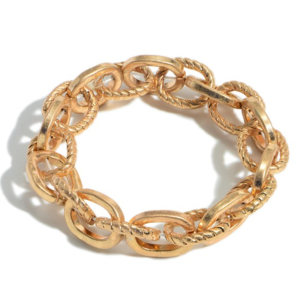 """Metal Chain Link Stretch Bracelet.   - Approximately 3"""" in Diameter"""