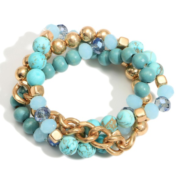 """Chain Link Bracelet Featuring Natural Stone Accents.   - Approximately 3"""" in Diameter"""