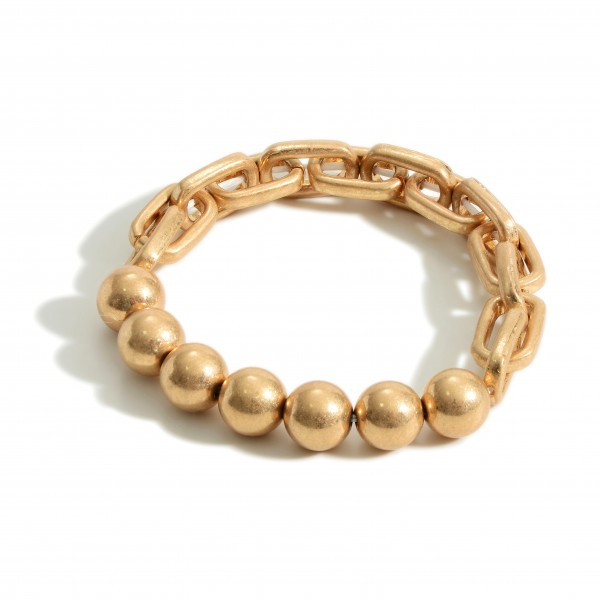 """Gold Chain Link Bracelet Featuring Natural Stone Accents.   - Approximately 2.5"""" in Diameter"""