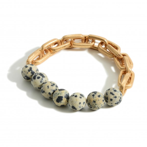 Gold Chain Link Bracelet Featuring Natural Stone Accents.