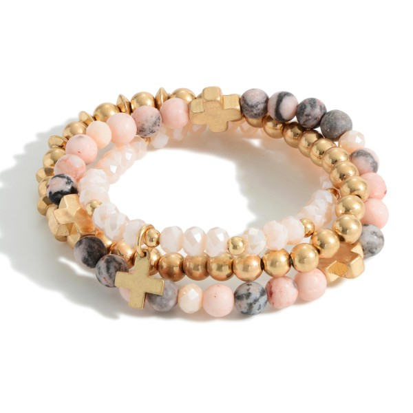 """Set of Three Beaded Bracelets Featuring Cross Accents.  - Approximately 2.5"""" in Diameter"""