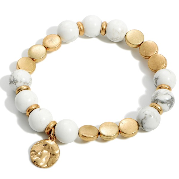 """Beaded Stretch Bracelets Featuring Hammered Gold Pendant.   - Approximately 3"""" in Diameter"""