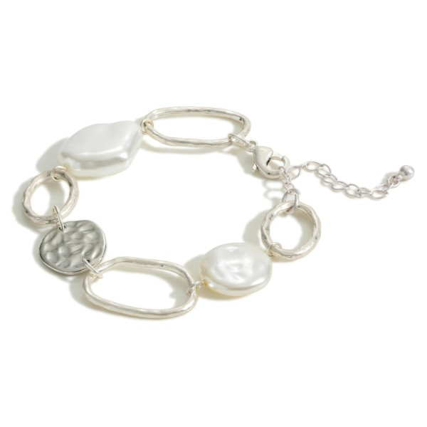 """Chain Link Bracelet Featuring a Pearl Charm and Hammered Accents.  - Approximately 2.5"""" in Diameter - Extender Approximately 3"""" in Length"""