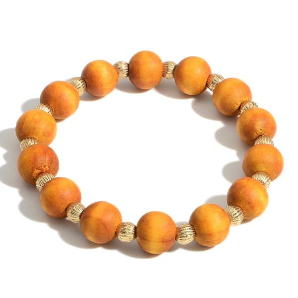 """Wooden Bead Bracelet Featuring Gold Details.   - Approximately 3"""" in Diameter"""