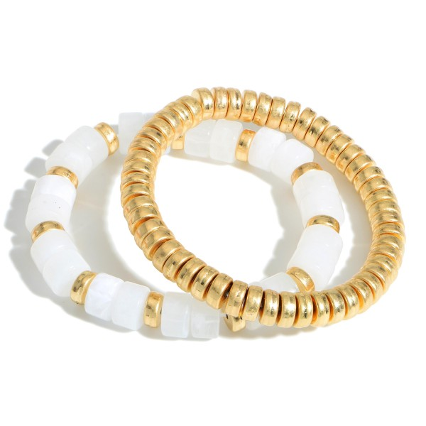 """Set of Two Beaded Bracelets Featuring Gold Beaded Accents.  - Approximately 2.5"""" in Diameter"""