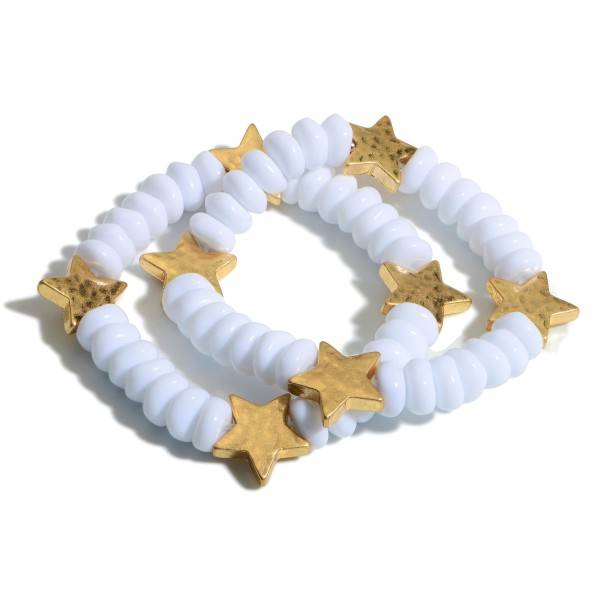 """Set of Two Beaded Bracelets Featuring Gold Star Accents.  - Approximately 2.5"""" in Diameter"""