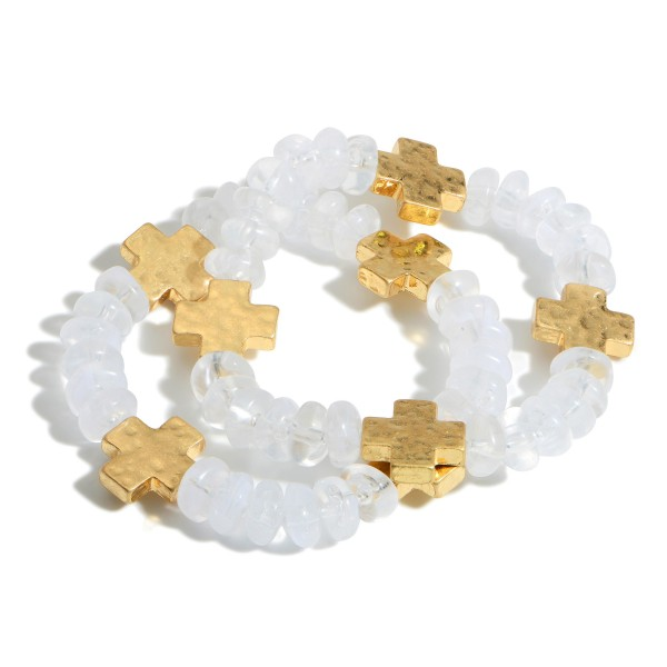"""Set of Two Beaded Bracelets Featuring Gold Cross Accents.  - Approximately 2.5"""" in Diameter"""