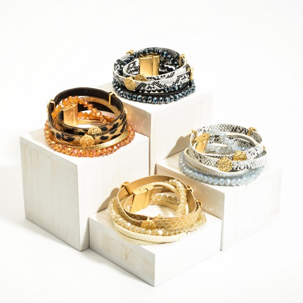 """Leather Snakeskin Bracelets Featuring Beaded Accents.  - Approximately 2.5"""" in Diameter - Magnetic Closure"""