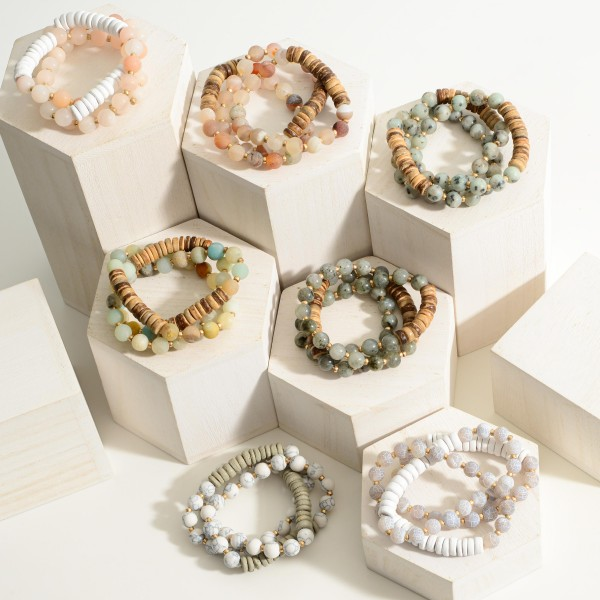 """Set of Three Natural Stone Beaded Bracelets Featuring Wood Accents.  - Approximately 2.5"""" in Diameter"""