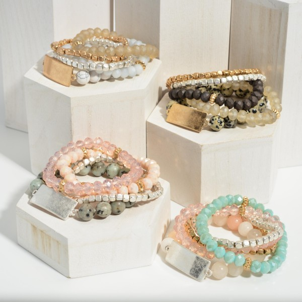 """Set of Five Beaded Bracelets Featuring Natural Stone Accents and Metal Details.   - Approximately 3"""" in Diameter"""