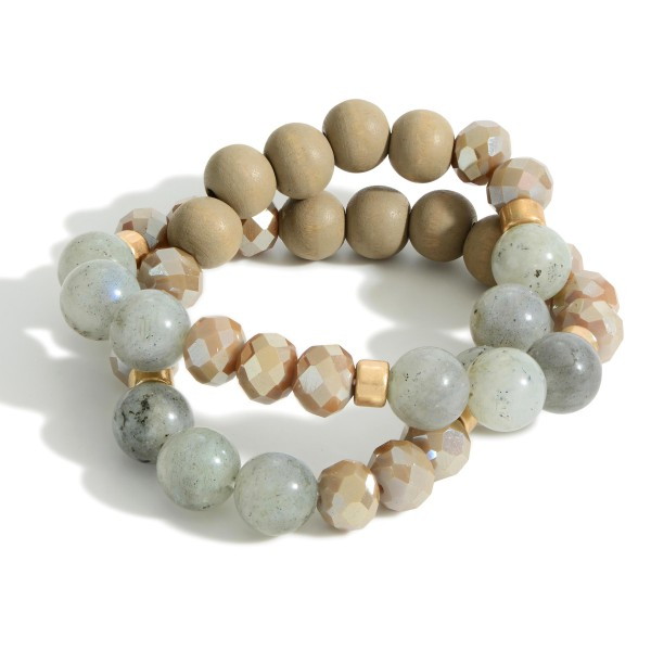 """Set of Two Wooden Beaded Bracelets Featuring Natural Stone Accents.   - Approximately 3"""" in Diameter"""