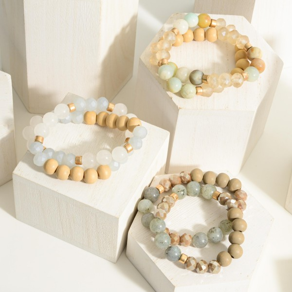 """Set of Two Wooden Beaded Bracelets Featuring Natural Stone Acccents.   - Approximately 3"""" in Diameter"""
