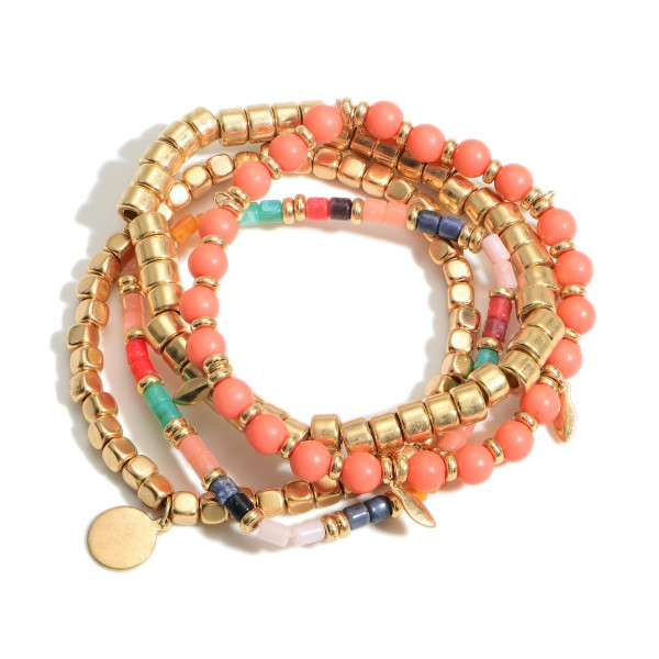 """Set of Four Boho Beaded Bracelets featuring Gold Accents.  - Approximately 2.5"""" in Diameter"""