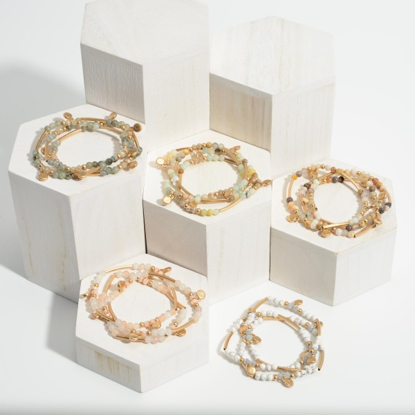 """Set of Three Beaded Stretch Bracelets Featuring Natural Stone Accents and Gold Details.   - Approximately 3"""" in Diameter"""
