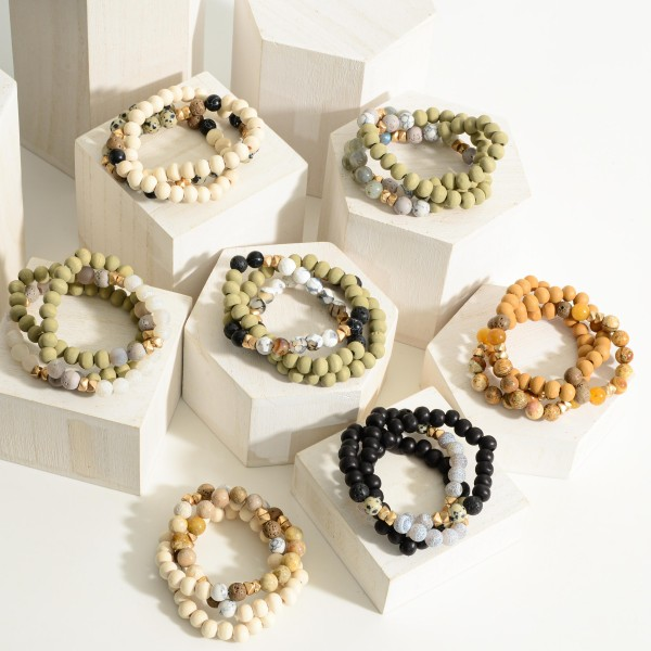 """Set of Three Beaded Bracelets Featuring Natural Stone Accents and Wood Details.   - Approximately 3"""" in Diameter"""