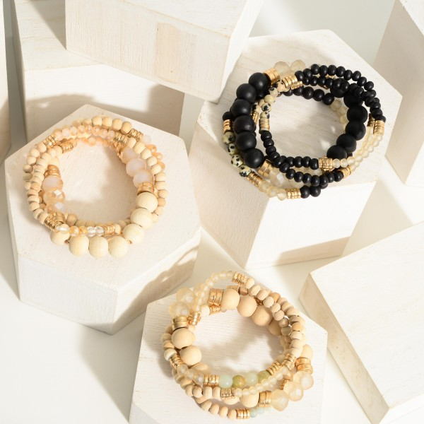"""Set of Four Beaded Bracelets Featuring Natural Stone Accents and Gold Details.   - Approximately 3"""" in Diameter"""