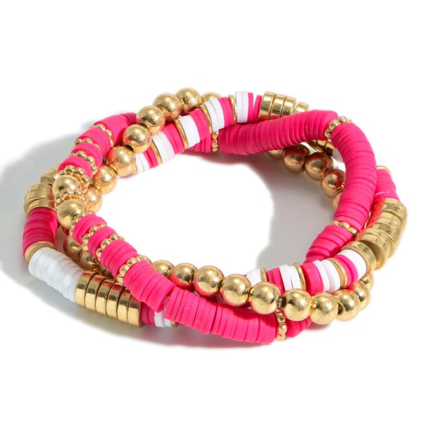 """Set of Three Beaded Bracelets Featuring Heishi Bead Accents and Gold Details.   - Approximately 3"""" in Diameter"""