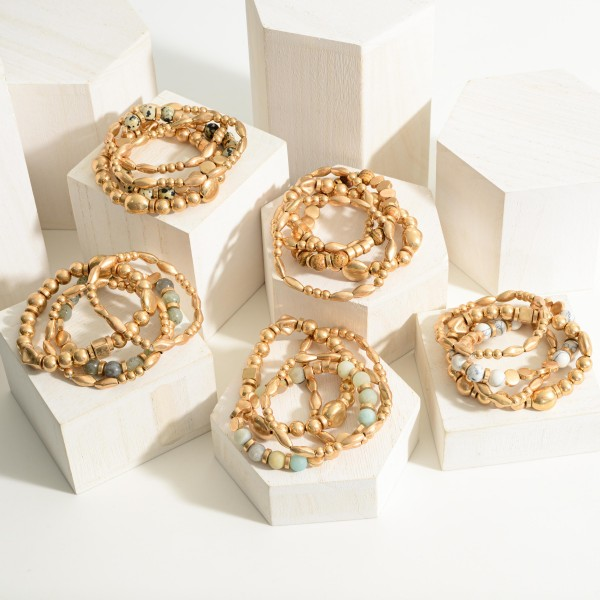"""Set of Three Gold Beaded Bracelets Featuring Natural Stone Accents.  - Approximately 2.5"""" in Diameter"""