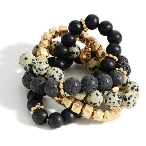 """Set of Four Beaded Bracelets Featuring Wood Accents and Natural Stone Details.   - Approximately 3"""" in Diameter"""