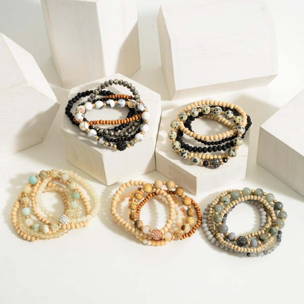"Set of Five Wooden Beaded Bracelets.  - Approximately 2.5"" in Diameter"
