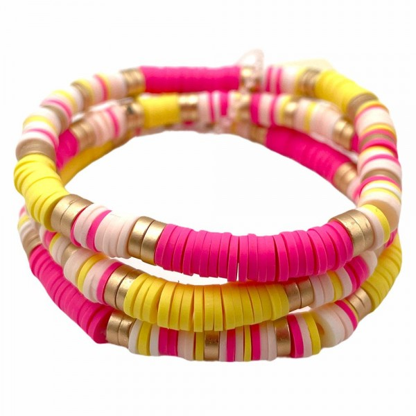 """Three Multi-Colored Heishi Bead Bracelets with Gold Accents.   - Approximately 2.5"""" in Diameter"""