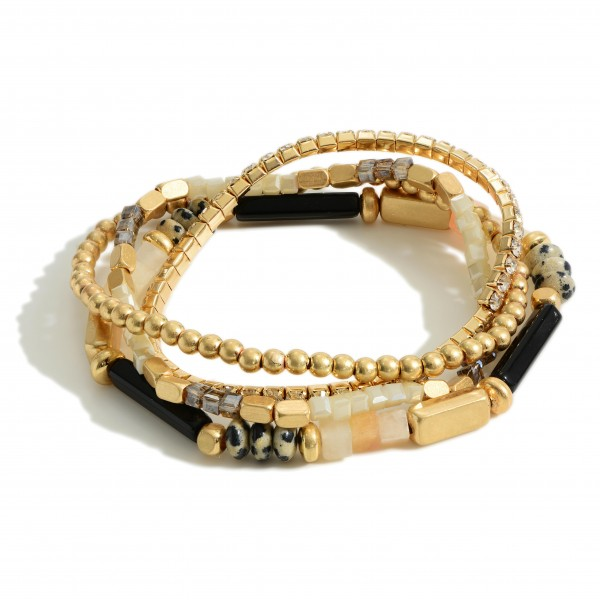 """Set of Four Beaded Bracelets Featuring Natural Stone Accents and Rhinestone Details.   - Approximately 3"""" in Diameter"""