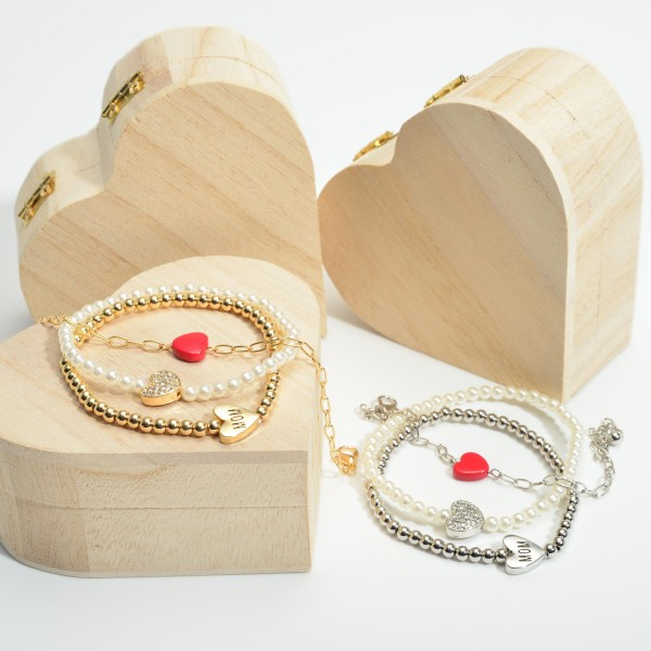 """Set of Three Heart Bracelets Featuring a Heart Charm that Says """"Mom"""".  - Approximately 2.5"""" in Diameter"""