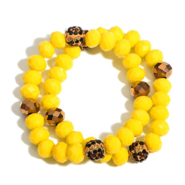 """Set of Two Beaded Bracelets Featuring Animal Print Accents.   - Approximately 3"""" in Diameter"""