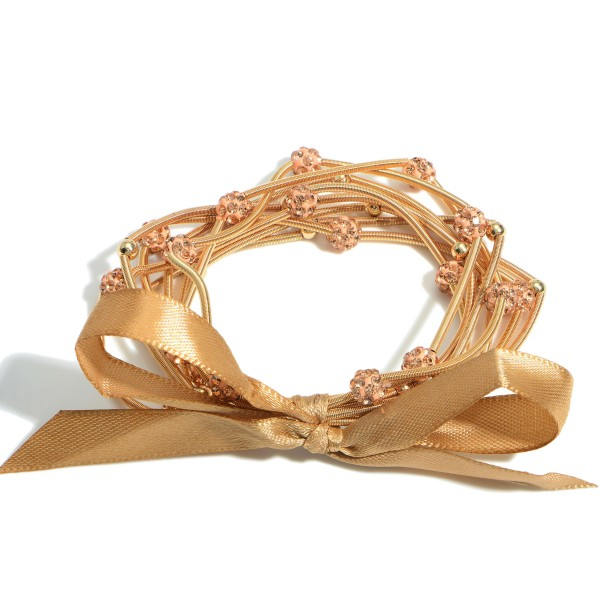 """Set of Eight Spring Wire Elastic Bracelets Featuring Beaded Accents. 257006   - Approximately 3"""" in Diameter"""