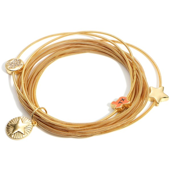 """Gold Stackable Cord Bracelet Set Featuring Texas Charms   - Approximately 2.5"""" in Diameter"""