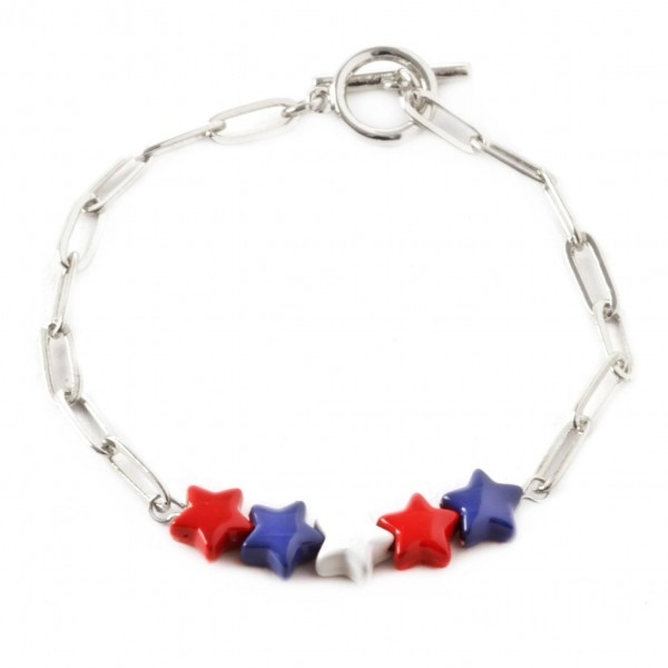"""Chain Link Bracelet Featuring Toggle Clasp with Red, White, and Blue Star Accents.   - Approximately 3"""" in Diameter"""