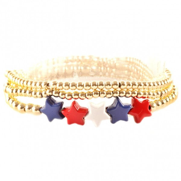 """Set of Three Beaded Metal Bracelets Featuring Red, White, and Blue Star Accents.   - Approximately 3"""" in Diameter"""