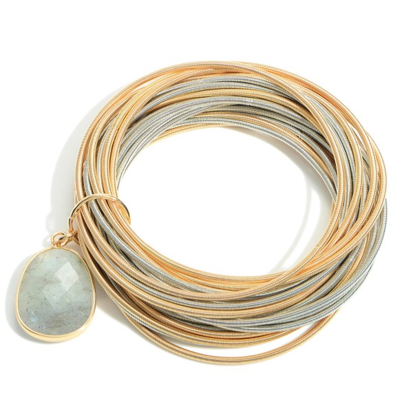 """Set of Twenty-Five Spring Wire Elastic Bracelets Featuring Natural Stone Pendant.   - Approximately 3"""" in Diameter"""