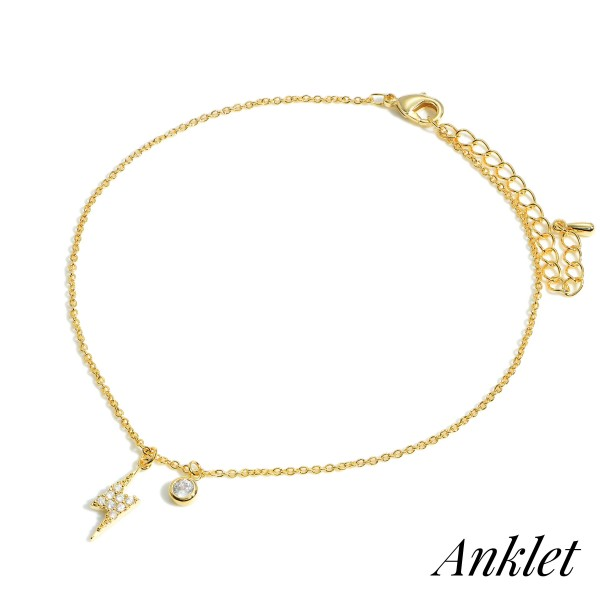 """Gold Dipped Anklet Featuring Lightning Bolt Accent.   - Approximately 3.5"""" in Diameter with 2"""" Extender"""