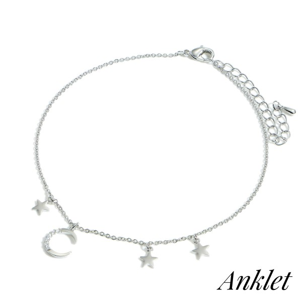 """Gold Dipped Anklet Featuring Celestial Accents.   - Approximately 3.5"""" in Diameter with 2"""" Extender"""