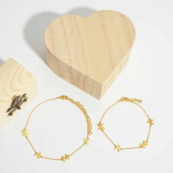 "Gold ""Mama"" Bracelet.   - Approximately 3"" in Diameter"