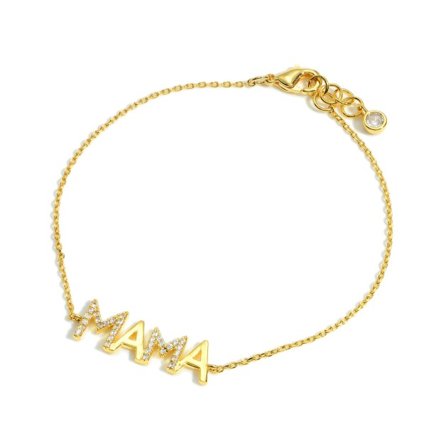 """Gold """"Mama"""" Bracelet Featuring CZ Accents.   - Approximately 3"""" in Diameter"""