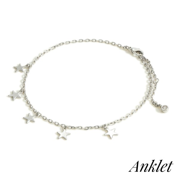 """White Gold Dipped Anklet featuring Star Charms.   - White Gold Dipped - Approximately 3"""" in Diameter - Extender Approximately 2"""" in Length"""