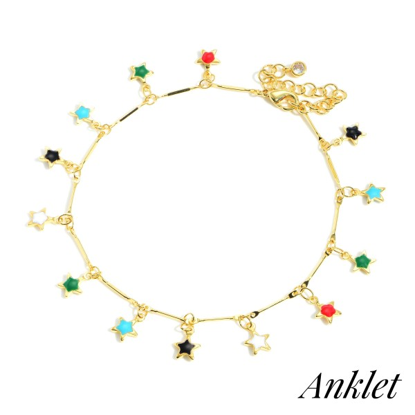 """Gold Dipped Anklet featuring Multi-Colored Star Charms.   - Gold Dipped - Approximately 3"""" in Diameter - Extender Approximately 2"""" in Length"""