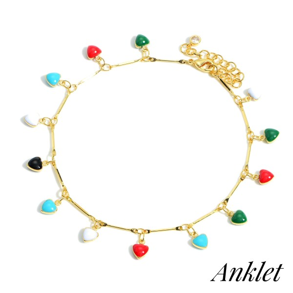 """Gold Dipped Anklet featuring Multi-Colored Heart Charms.   - Gold Dipped - Approximately 3"""" in Diameter - Extender Approximately 2"""" in Length"""