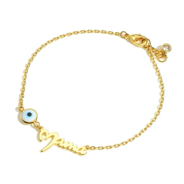 """Gold Dipped Evil Eye Bracelet that says """"Mama"""".  - Gold Dipped - Approximately 2.5"""" in Diameter - Extender Approximately 1"""" in Length"""