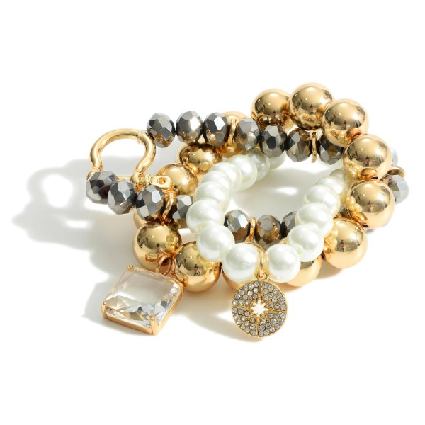 """Set of Three Beaded Bracelets Featuring Faux Pearl Accents and Clear Crystal Detail.   - Approximately 3"""" in Diameter"""
