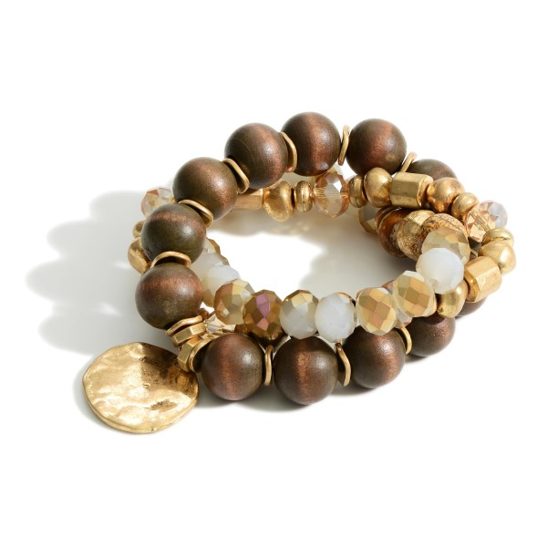 """Set of Three Beaded Bracelets Featuring Hammered Pendant and Gold Details.   - Approximately 3"""" in Diameter"""